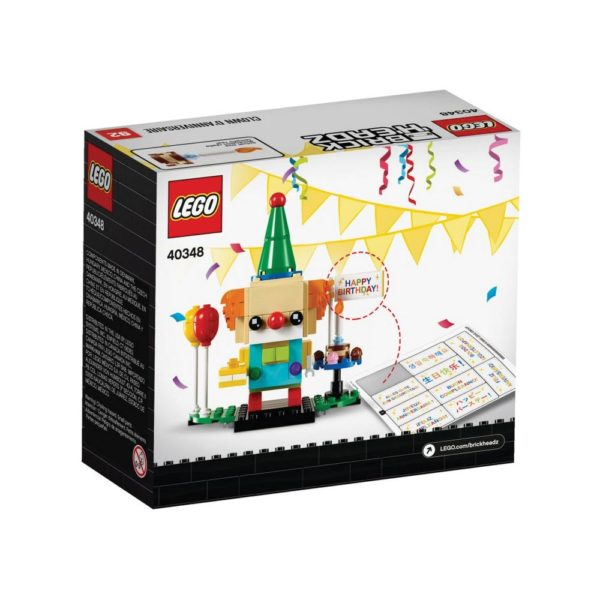 Brickly - 40348 Lego BrickHeadz Birthday Clown - Box Back