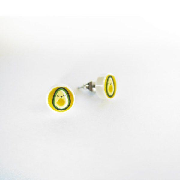 Brickly - Jewellery - Round Printed Lego Tile Stud Earrings - Avocado