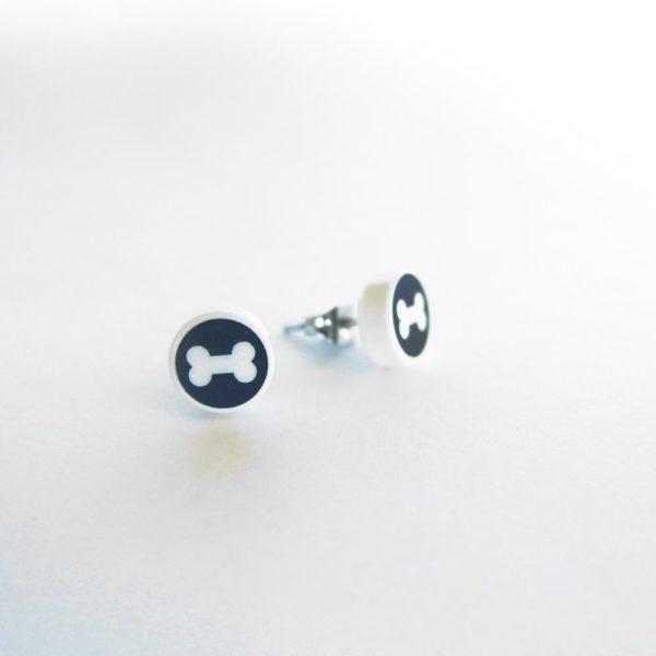 Brickly - Jewellery - Round Printed Lego Tile Stud Earrings - Bone