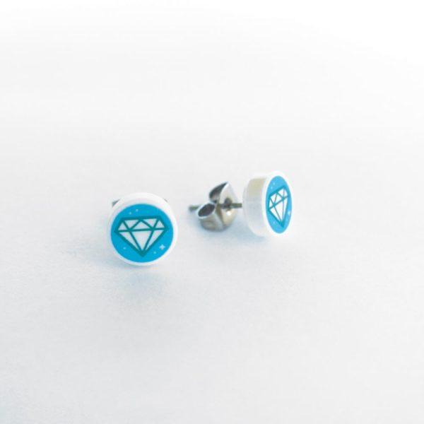 Brickly - Jewellery - Round Printed Lego Tile Stud Earrings - Diamond