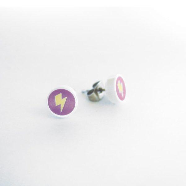 Brickly - Jewellery - Round Printed Lego Tile Stud Earrings - Lightning Bolt