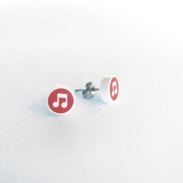 Brickly - Jewellery - Round Printed Lego Tile Stud Earrings - Musical Note