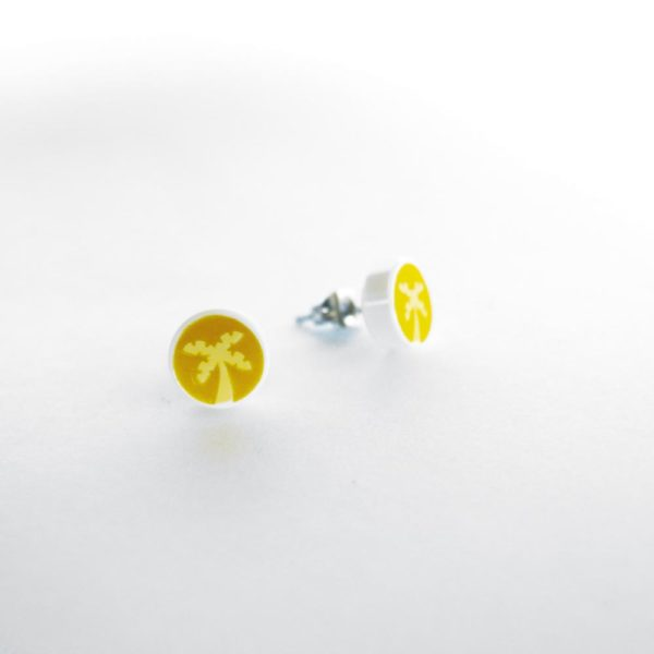 Brickly - Jewellery - Round Printed Lego Tile Stud Earrings - Palm Tree
