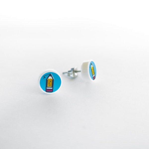 Brickly - Jewellery - Round Printed Lego Tile Stud Earrings - Pencil