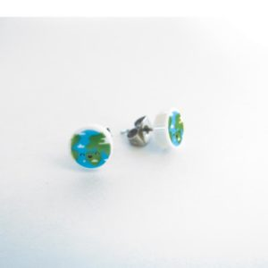 Brickly - Jewellery - Round Printed Lego Tile Stud Earrings - Planet Earth
