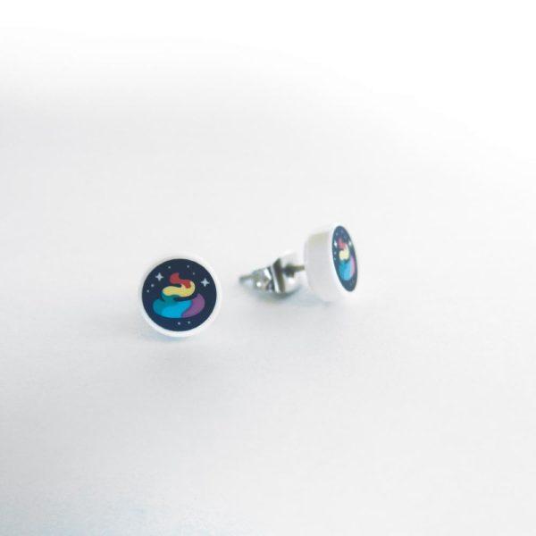 Brickly - Jewellery - Round Printed Lego Tile Stud Earrings - Rainbow Poop