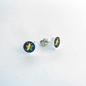 Brickly - Jewellery -Round Printed Lego Tile Stud Earrings - Rainbow Stars