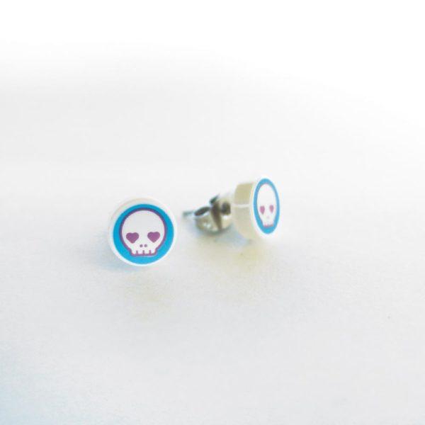 Brickly - Jewellery - Round Printed Lego Tile Stud Earrings - Skull