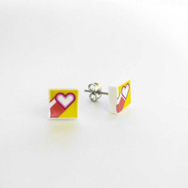 Brickly - Jewellery - Square Printed Lego Tile Stud Earrings - Hearts