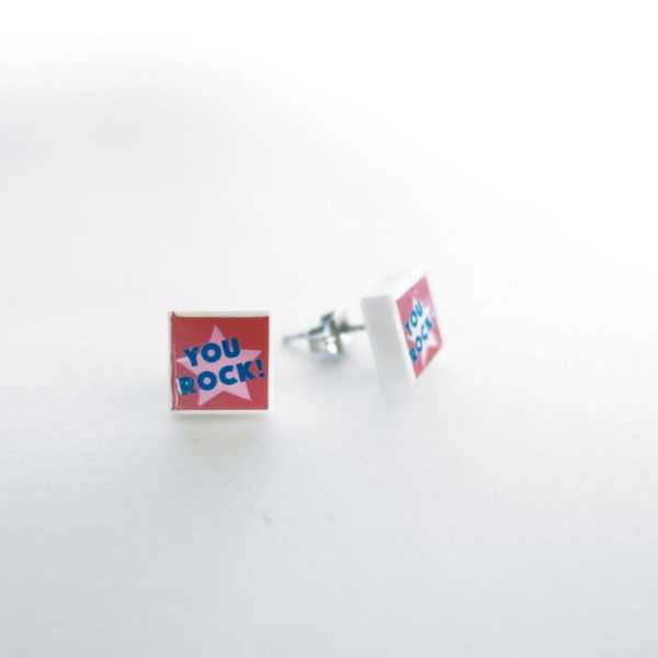 Brickly - Jewellery - Square Printed Lego Tile Stud Earrings - You Rock!